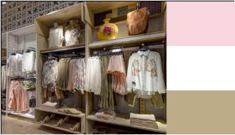 display clothing store by color beige pink