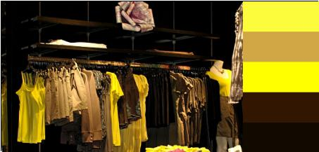display clothing store by color yellow brown